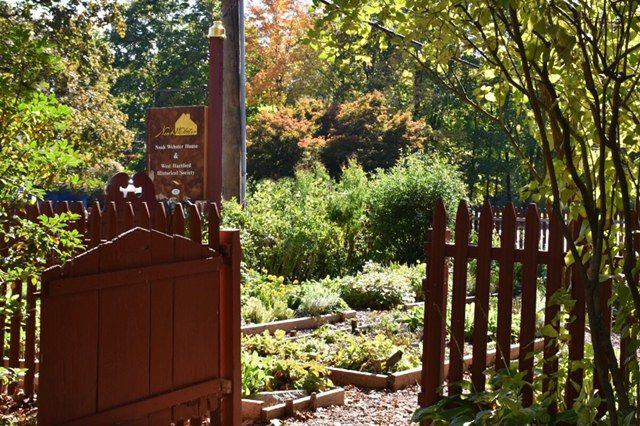 garden, gate, noah webster house, west hartford, historical society, national historic landmark