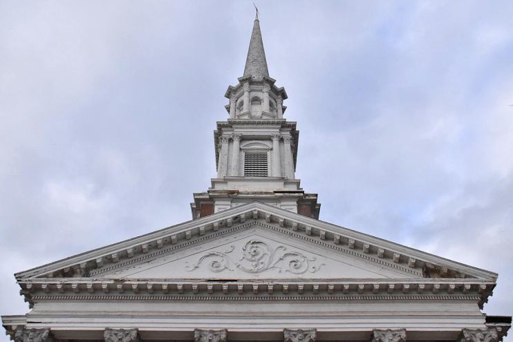 portico, steeple, horace bushnell congregational church, hartford, ct, connecticut, main street