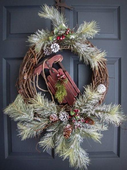 wreath, winter, christmas, pine