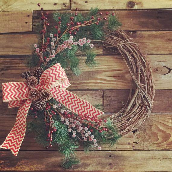 wreath, christmas, winter, bow