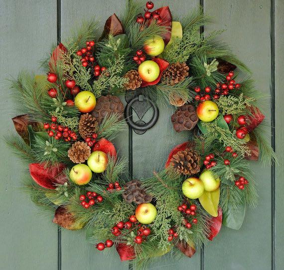 wreath, christmas, fruit