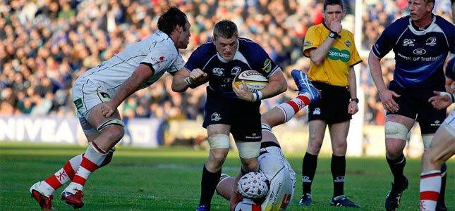 Jamie Heaslip of Leinster tackled by Pedrie Wannenburg and Johann Muller of Ulster during the Magners League semi final between Leinster and Ulster at the RDS, Dublin 13 May 2011. BY: rugbypicture.co.uk