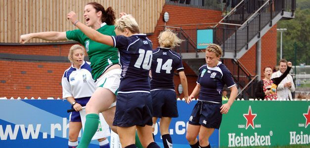 Irelands Eliza Downey celebrates scoring for Ireland against Scotland in the 2010 Women's World Cup.