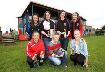 Prizewinners at the Ulster Women's Awards. (Back l-r) Rosie Quinn, Julie Newton, Catrin Watts, Steffi Clarke. (Front l-r) Ashleigh Baxter, Joy Sparkes, Erin Caughey. Photo John Dickson