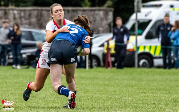 Ulster U18's Leah McGoldrick gets to grips with the Leinster midfield  during their  10 - 5 win at City of Armagh RFC.