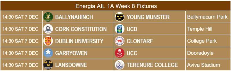 Energia AIL 1A Week 8 Fixtures