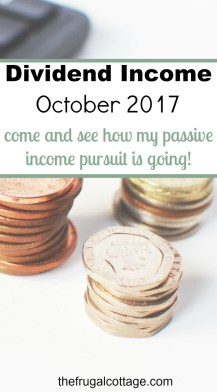 Dividend Income October 2017 - The Frugal Cottage