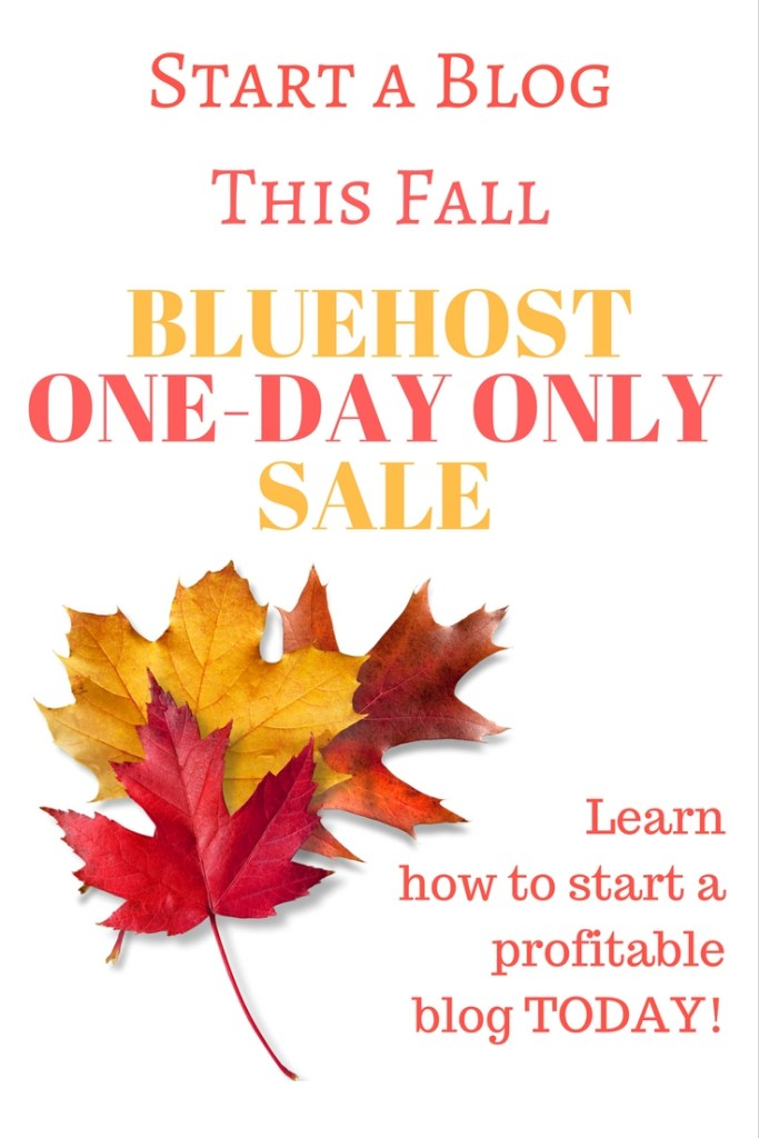 Bluehost SALE! Just in time for fall! Have you been thinking about starting a blog? If so, TODAY is your chance! Bluehost is offering a huge discount to all new bloggers TODAY ONLY! Fall is the perfect time to start a blog. Check out my tutorial to learn more!