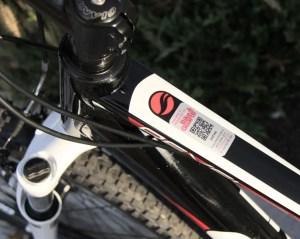 Bike registration sticker with QR code