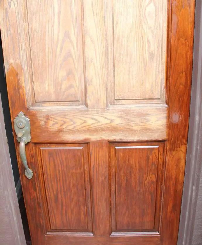 Door staining in process