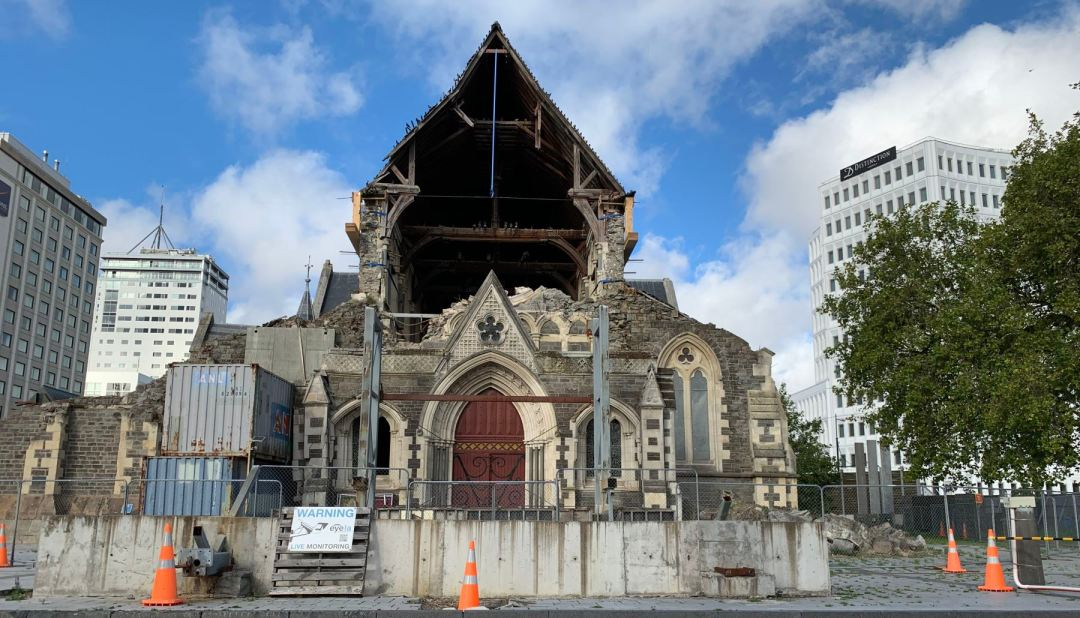 Damaged Christchurch Cathedral in Cathedral Square