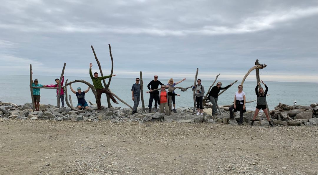 Our group posing at the beach at Hokitika