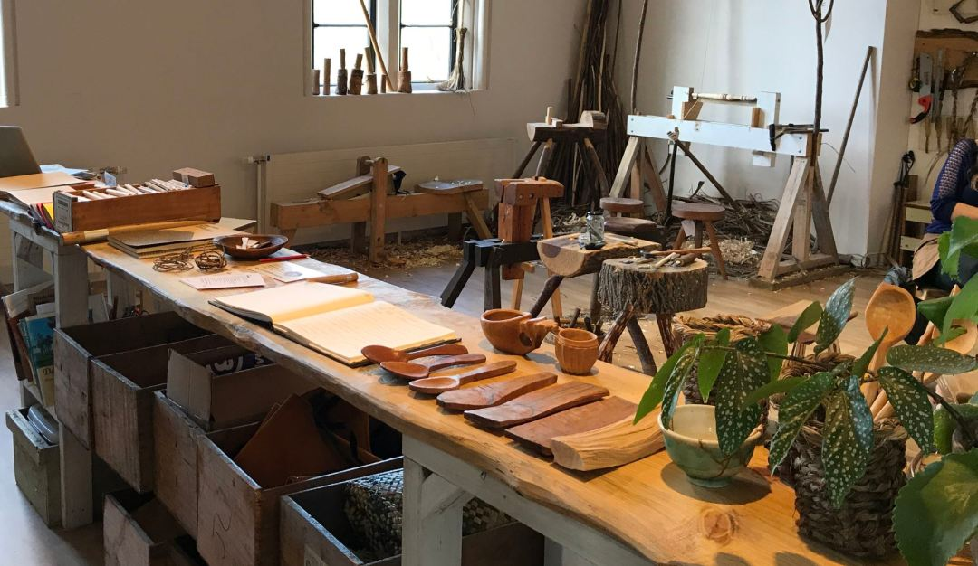 A wood shop at the Arts Centre using antique hand tools