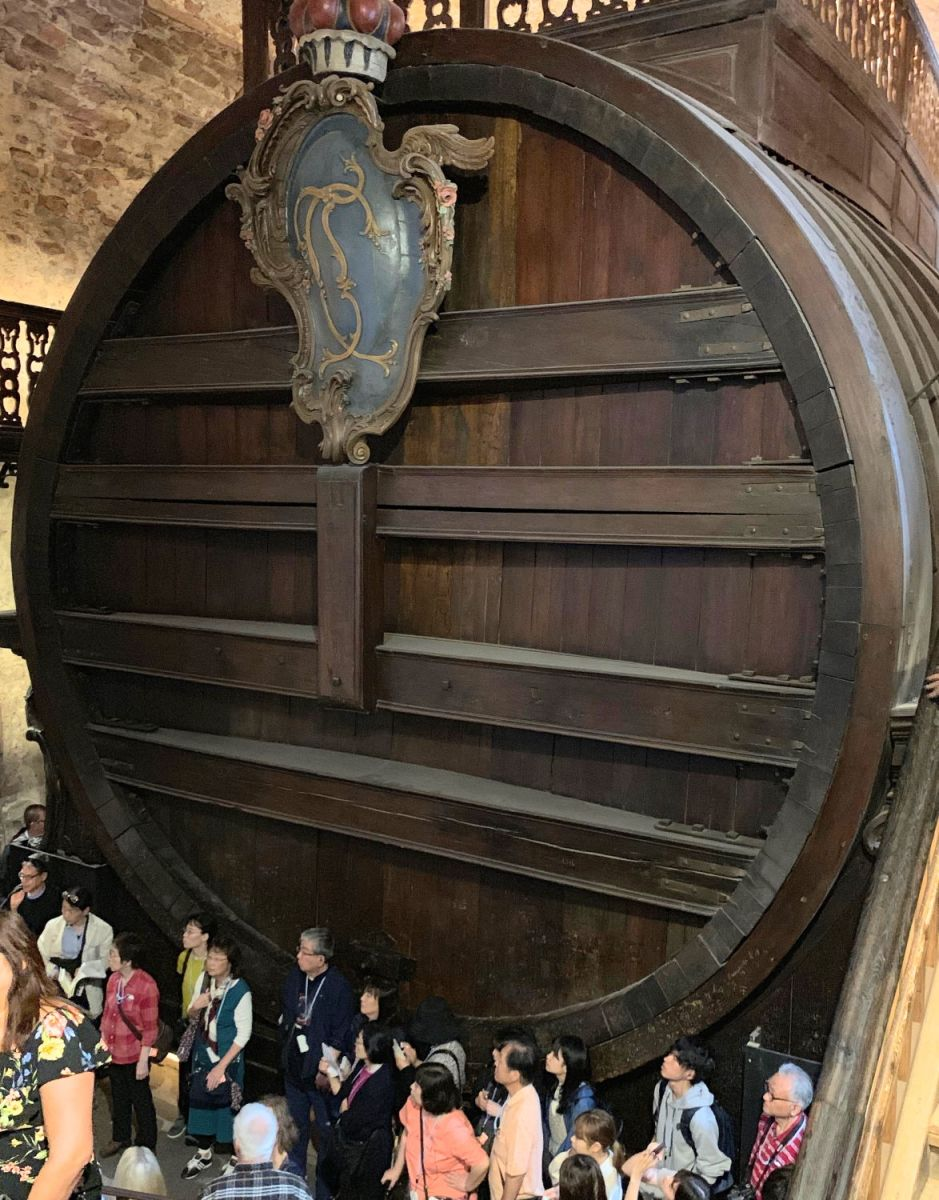 The world's largest wine barrel, located at  Heidelburg Castle