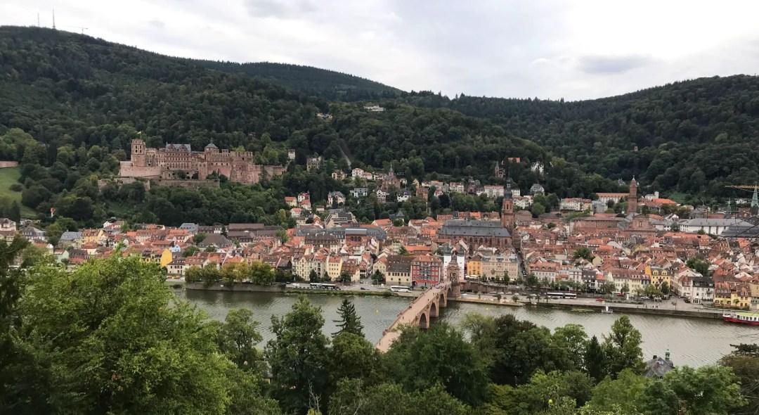 View of the Heidelburg castle and Altstadt from the Philosopher's Walk