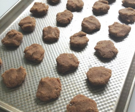 flaxseed cookies on a pan ready to bake