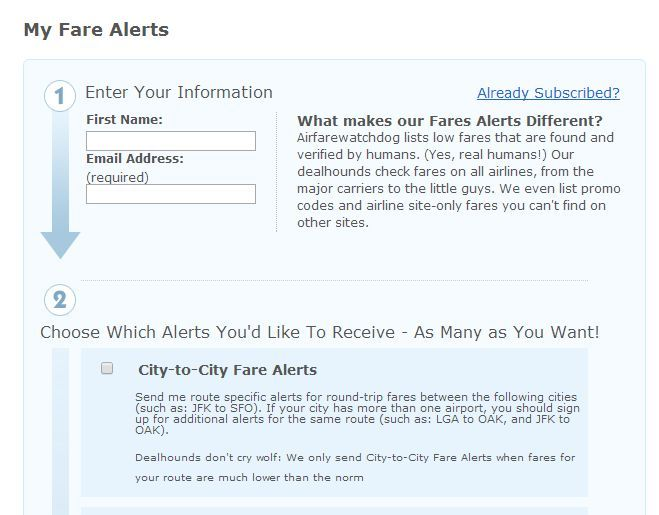 My Fare Alerts subscribe form