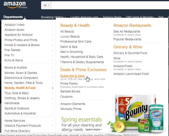 amazon website navigation image