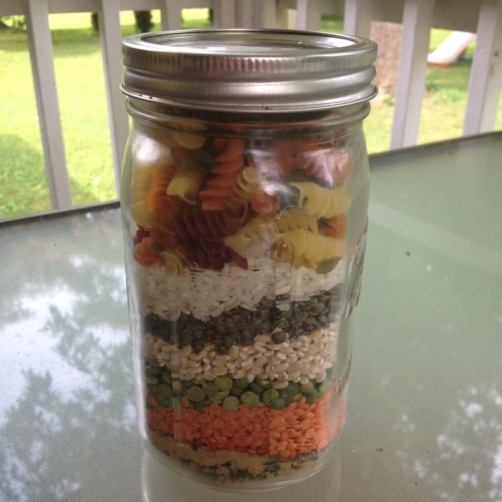 soup ingredients in a quart mason jar