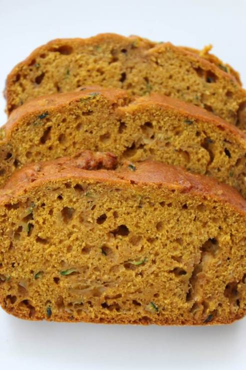 Quick & easy pumpkin zucchini bread with reduced sugar and oil! An easy recipe for extra zucchini that is budget friendly, too. #easyrecipe #pumpkinrecipe