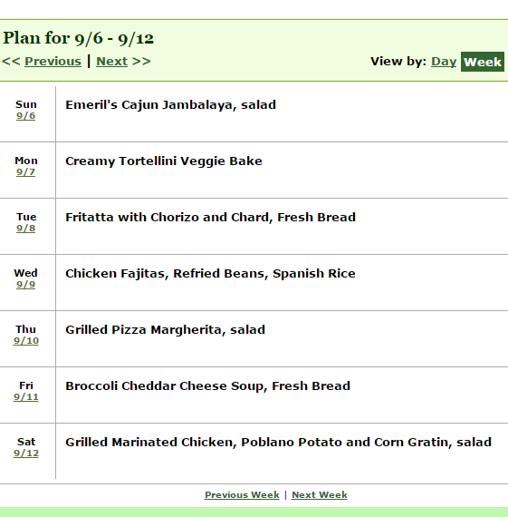 week long dinner meal plan