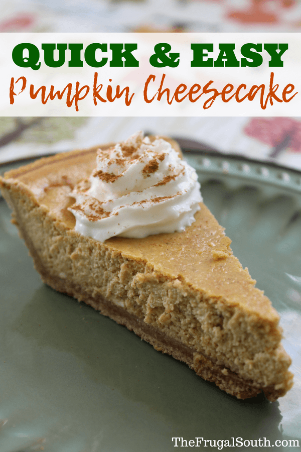 Get this ultra easy pumpkin cheesecake recipe that comes together in 5 minutes! Move over pumpkin pie - this delicious easy cheesecake recipe made with simple ingredients will become your go-to fall recipe. #pumpkincheesecake #easycheesecake #easyfallrecipe