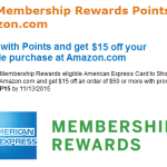 Amex Members: Get $15 off $50 Amazon Purchase