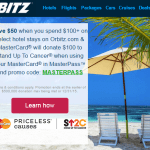 Orbitz: $50 off $100 Hotel Booking + $100 Stand Up to Cancer Donation!