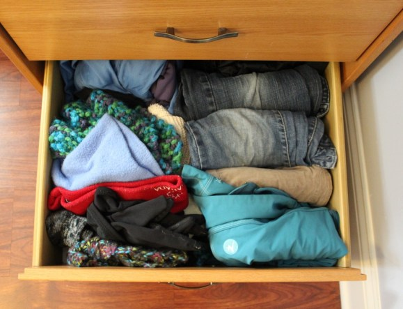 drawer of clothes