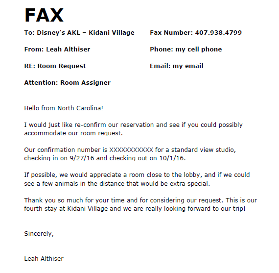 room request fax example