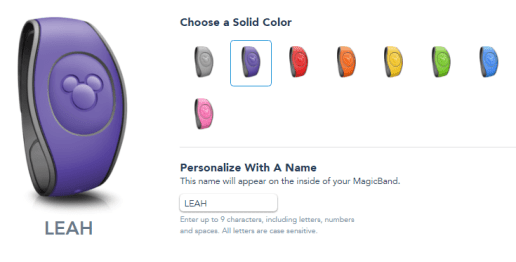 magic band disney colors choices from app