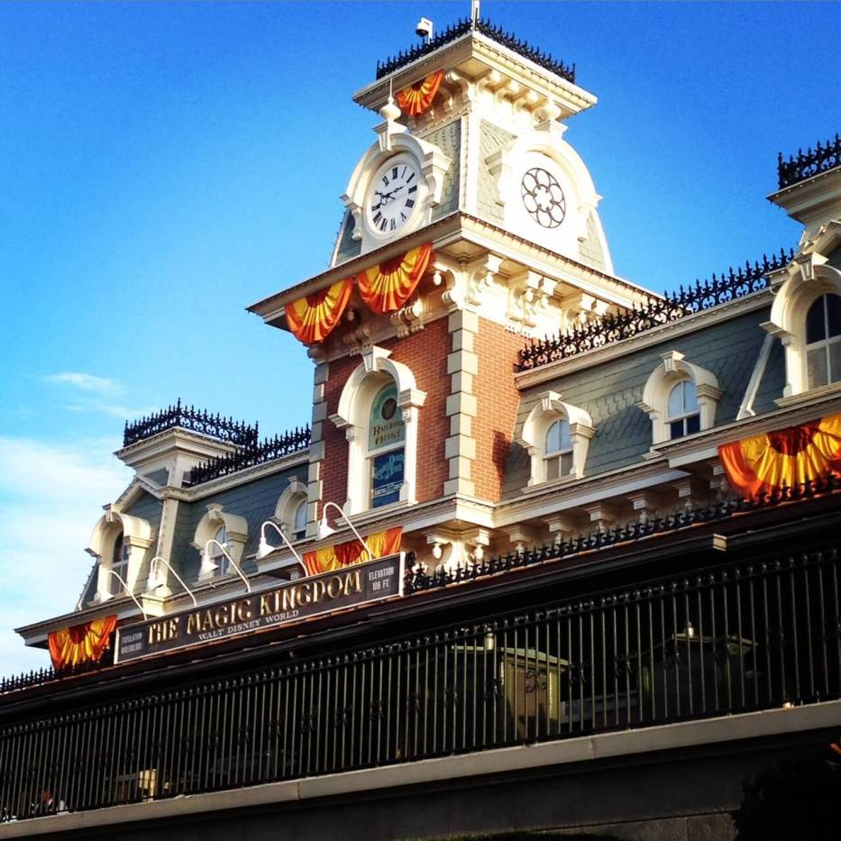 Magic Kingdom train station in fall