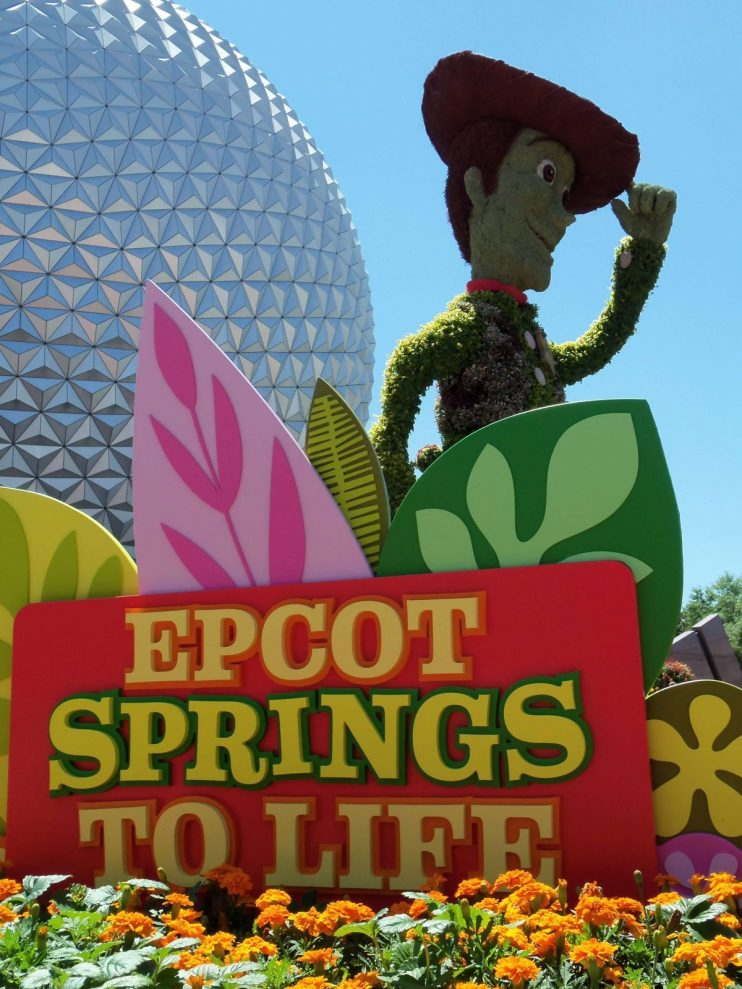 Woody in front of Epcot in Spring