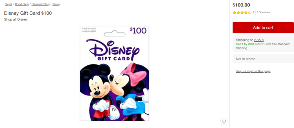 purchasing disney gift card online from target