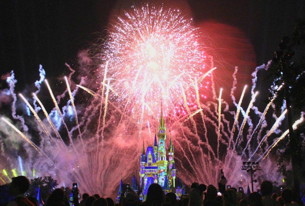 night time fireworks over cinderella's castle
