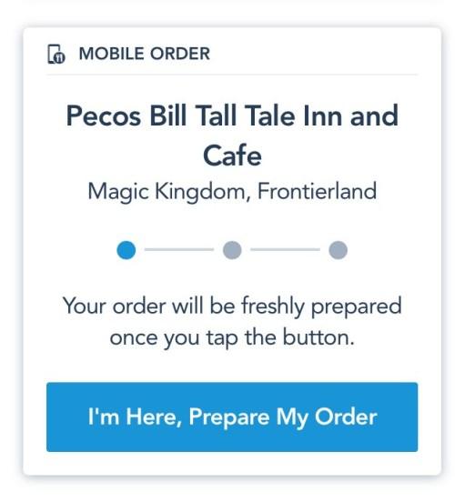 I'm here, prepare my order screen on disney app