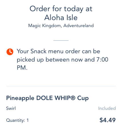 disney world mobile order confirmation screenshot