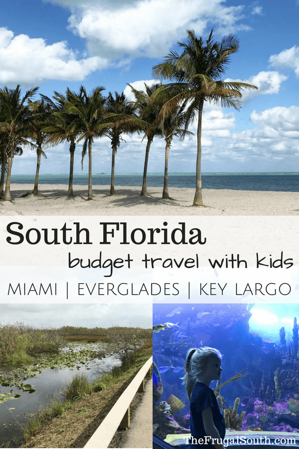 Family travel to South Florida can be affordable! Tips for how to take a vacation with kids to Miami, the Everglades, and Key Largo on a budget. Lots of ideas and pictures for your family vacation!