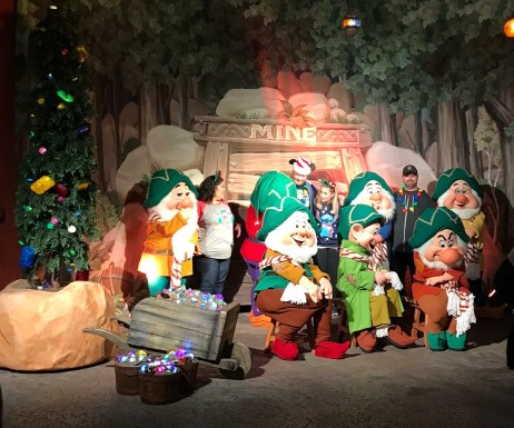 meeting the seven dwarves at mickey's very merry christmas party
