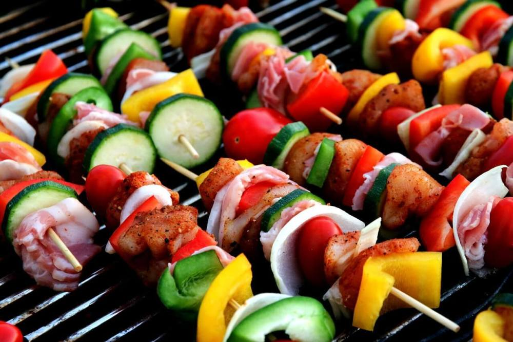 veggie skewers on a grill