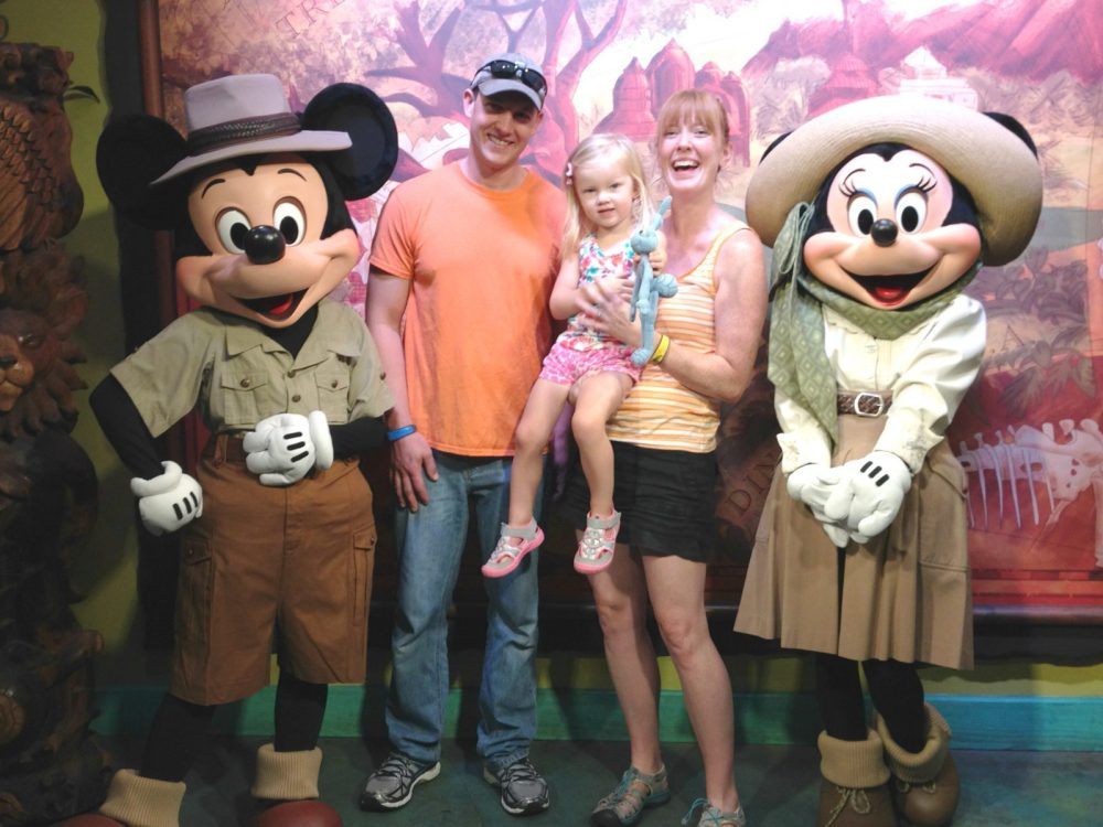 family with mickey and minnie mouse