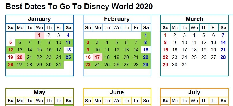 calendar for looking at the best dates to go to disney world in 2020