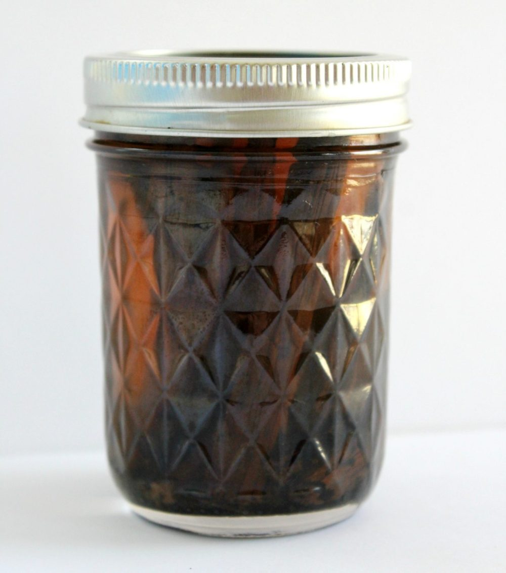 homemade vanilla extract in a mason jar
