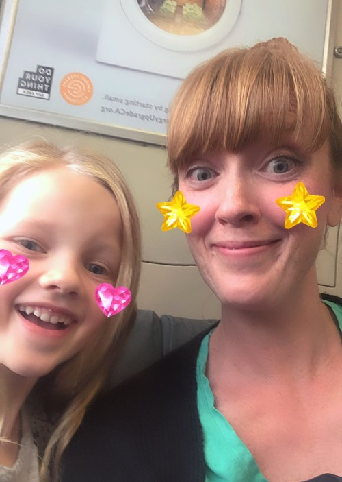 mommy daughter train selfie