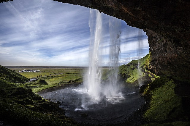 waterfall in iceland in june