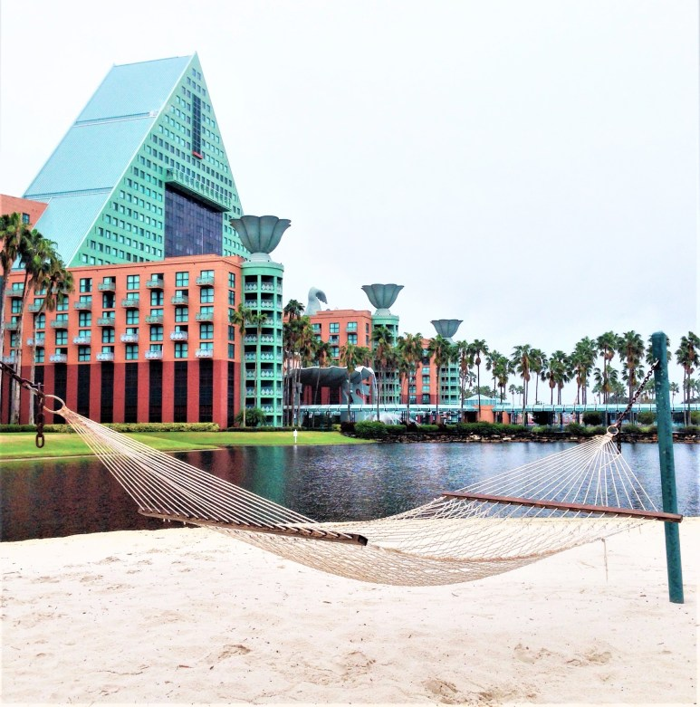 hammock in front of disney dolphin hotel