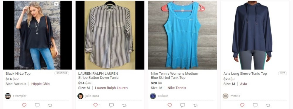clothes for sale on poshmark