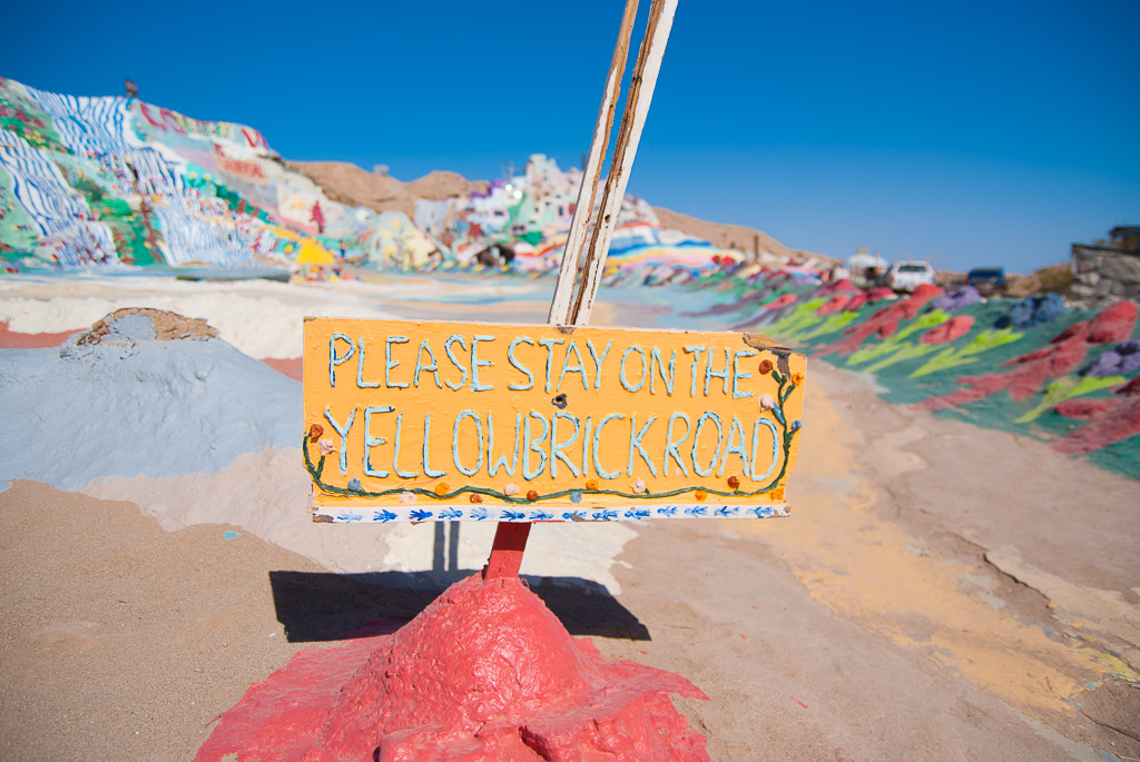 Salvation Mountain Yellow Brick Road Sign