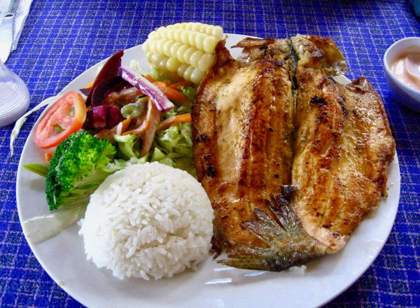 grilled fish dinner with vegetables and rice