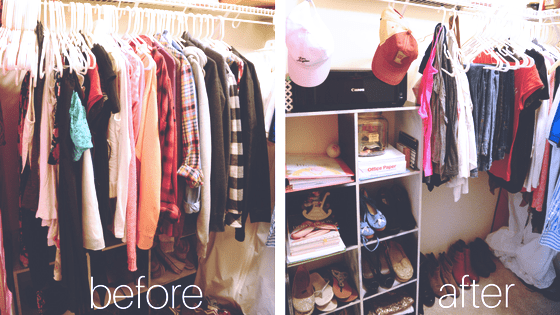 before after closet, before after drawers, small room downsize, small bedroom, declutter, small office, room office, bedroom office, downsize, konmari method, konmari folding